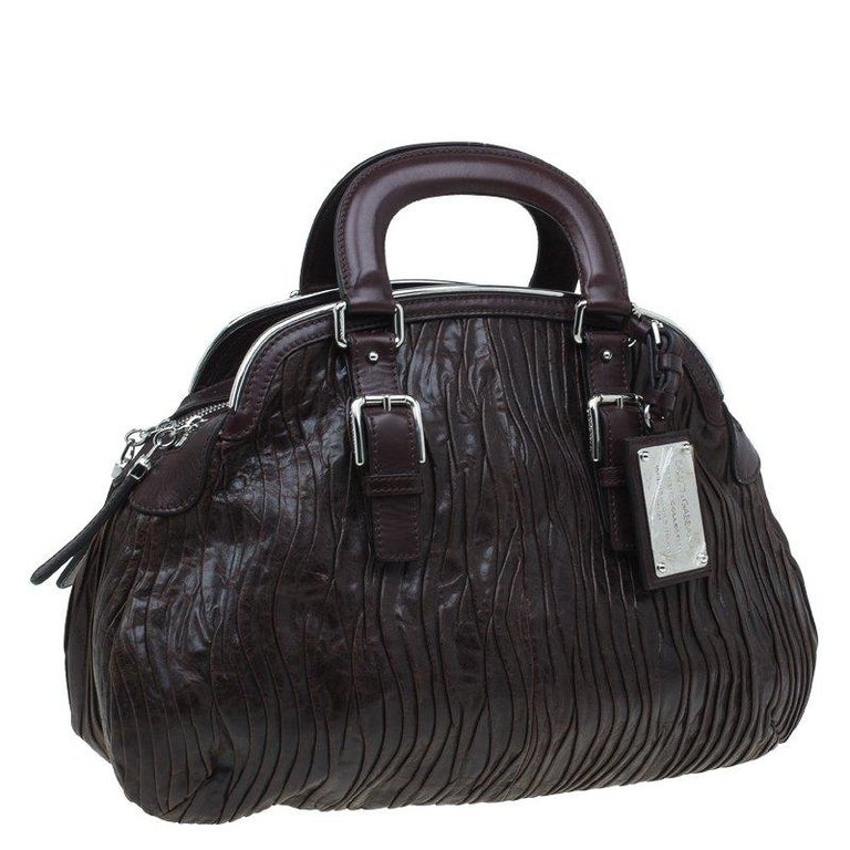 Black Dolce and Gabbana Brown Pleated Leather Miss Bauletto Dome Satchel For Sale