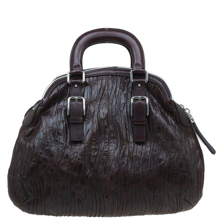 Dolce and Gabbana Brown Pleated Leather Miss Bauletto Dome Satchel In Good Condition For Sale In Dubai, Al Qouz 2