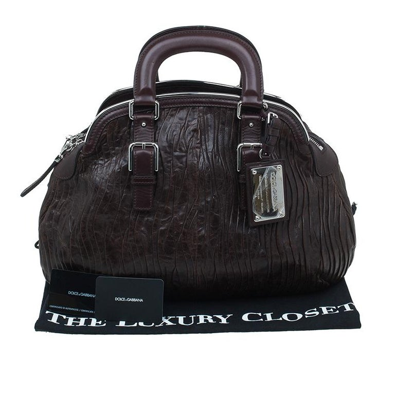 Dolce and Gabbana Brown Pleated Leather Miss Bauletto Dome Satchel For Sale 3