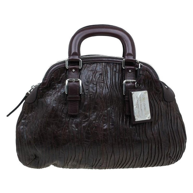 Dolce and Gabbana Brown Pleated Leather Miss Bauletto Dome Satchel For Sale