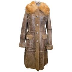 Dolce and Gabbana Brown Sheepskin Coat With Fur Collar