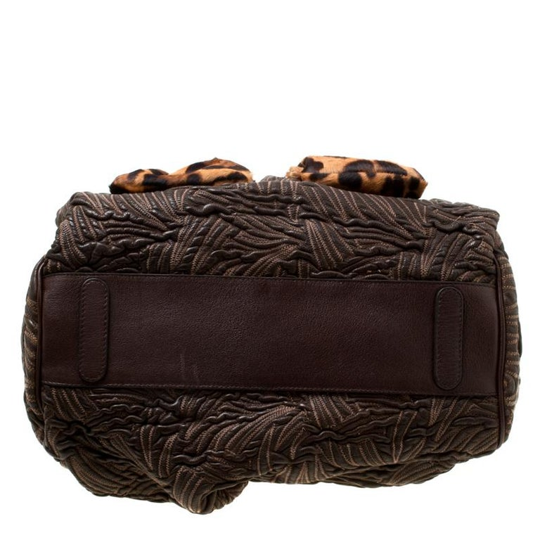 Dolce and Gabbana Brown Textured Leather Miss Curly Bag For Sale 6