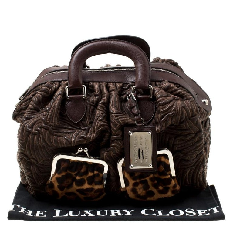 Dolce and Gabbana Brown Textured Leather Miss Curly Bag For Sale 8
