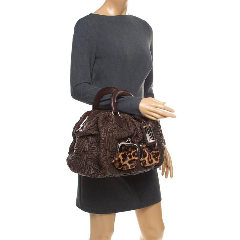 Dolce and Gabbana Brown Textured Leather Miss Curly Bag In Good Condition For Sale In Dubai, Al Qouz 2