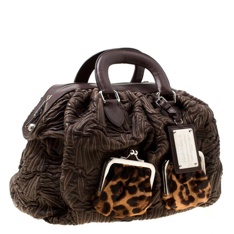 Women's Dolce and Gabbana Brown Textured Leather Miss Curly Bag For Sale