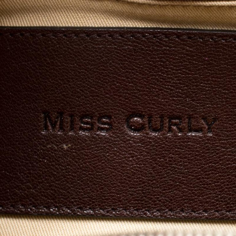 Dolce and Gabbana Brown Textured Leather Miss Curly Bag For Sale 2