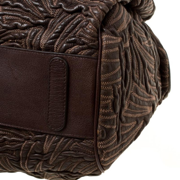 Dolce and Gabbana Brown Textured Leather Miss Curly Bag For Sale 4