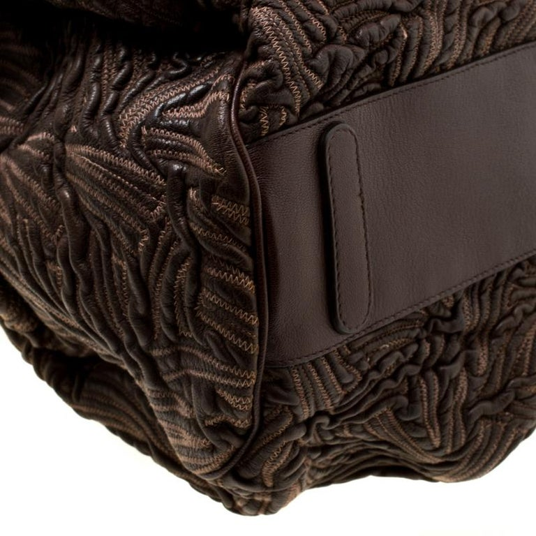 Dolce and Gabbana Brown Textured Leather Miss Curly Bag For Sale 5