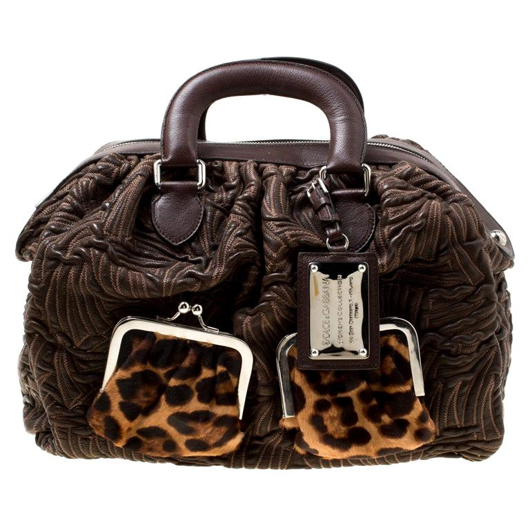 Dolce and Gabbana Brown Textured Leather Miss Curly Bag For Sale