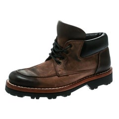 Dolce and Gabbana Brown Textured Suede With Black Leather Lace Up Boots Size 40