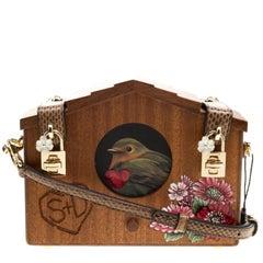 Dolce and Gabbana Brown Wooden Bird House Shoulder Bag