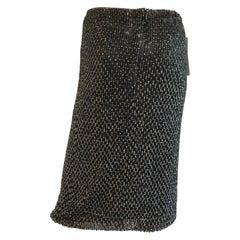 Dolce and Gabbana Metallic & Black Bugle Beaded and Sequin Skirt