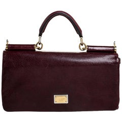 Dolce and Gabbana Burgundy Leather East West Miss Sicily Leather Top Handle Bag