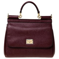 Dolce and Gabbana Burgundy Leather Medium Miss Sicily Top Handle Bag