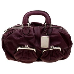 Dolce and Gabbana Burgundy Leather Miss Curly Bag
