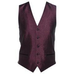 Dolce and Gabbana Burgundy Metallic Jacquard Satin Trim Waistcoat S