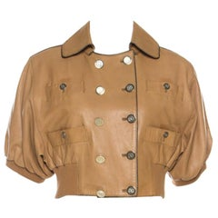 Dolce and Gabbana Camel Brown Short Sleeve Cropped Leather Jacket M