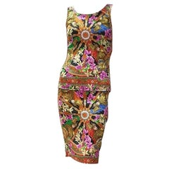 Dolce and Gabbana Carretto Floral Print Pleated Skirt Set Suit