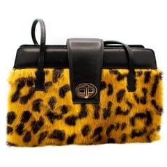 Dolce and Gabbana Cheetah print Mink and Leather Handbag