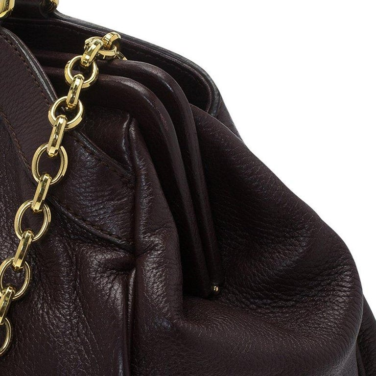 Dolce and Gabbana Choco Brown Leather Key Zipper Top Handle Bag For Sale 8