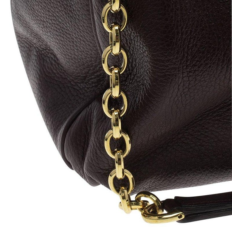 Dolce and Gabbana Choco Brown Leather Key Zipper Top Handle Bag For Sale 9