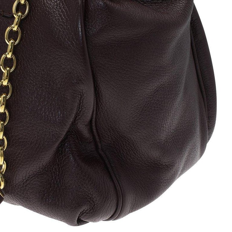 Dolce and Gabbana Choco Brown Leather Key Zipper Top Handle Bag For Sale 10