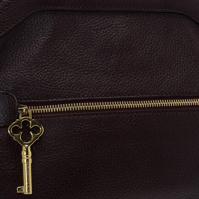 Dolce and Gabbana Choco Brown Leather Key Zipper Top Handle Bag For Sale 11