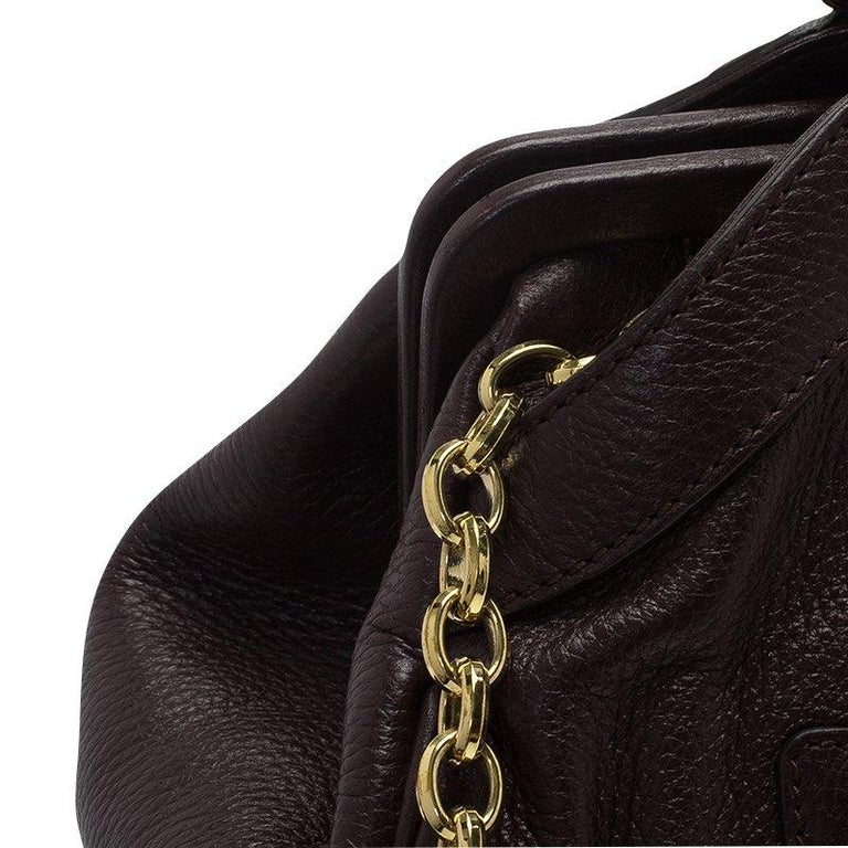 Dolce and Gabbana Choco Brown Leather Key Zipper Top Handle Bag For Sale 12