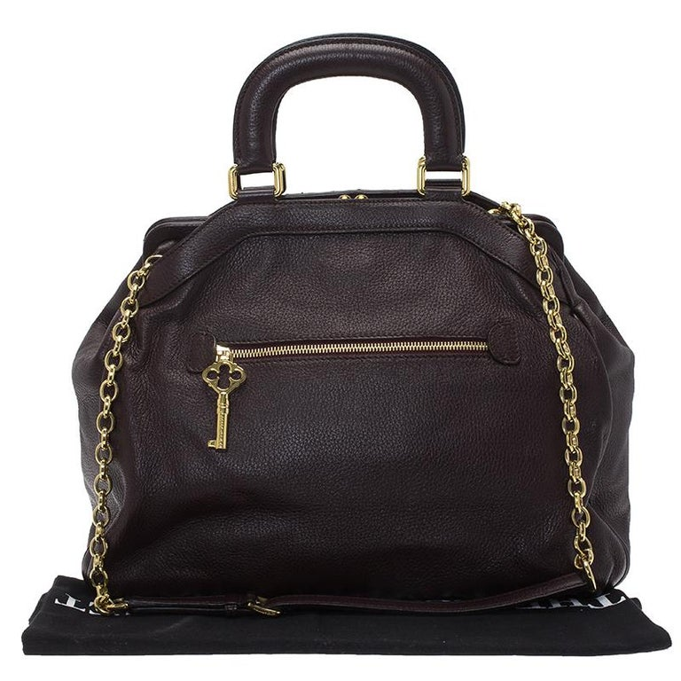 Dolce and Gabbana Choco Brown Leather Key Zipper Top Handle Bag For Sale 13