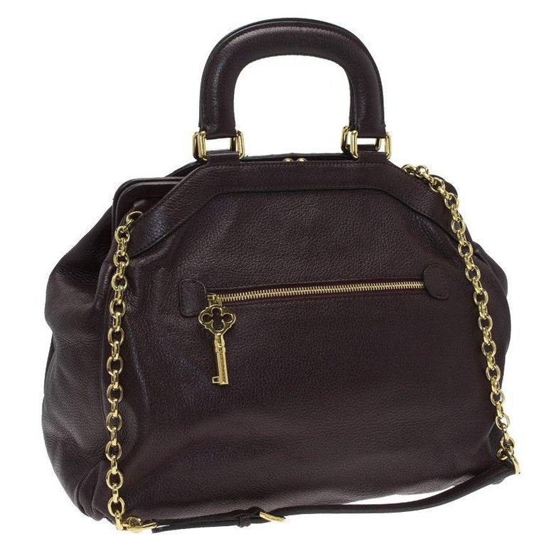 Women's Dolce and Gabbana Choco Brown Leather Key Zipper Top Handle Bag For Sale