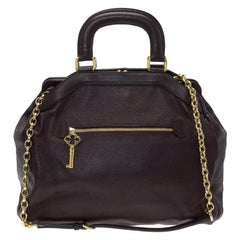 Dolce and Gabbana Choco Brown Leather Key Zipper Top Handle Bag