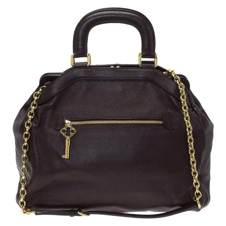 Dolce and Gabbana Choco Brown Leather Key Zipper Top Handle Bag For Sale