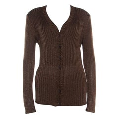 Dolce and Gabbana Chocolate Brown Lurex Insert Button Front Cardigan M