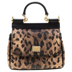 Dolce and Gabbana  Coated Canvas and Leather Micro Miss Sicily Top Handle Bag
