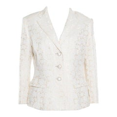 Dolce and Gabbana Cream Floral Jacquard Embellished Button Blazer L