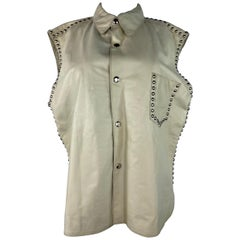 Dolce and Gabbana Cream Leather Button Down Vest, With Tags