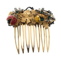 Dolce and Gabbana Crystal Enamel Ladybug Floral Comb Hair Accessory