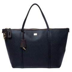 Dolce and Gabbana Dark Blue Leather Miss Escape Tote