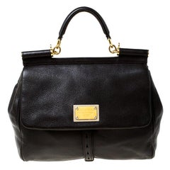 Dolce and Gabbana Dark Brown Leather Large Miss Sicily Top Handle Bag