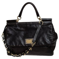 Dolce and Gabbana Dark Brown Leather Top Handle Miss Sicily Bag