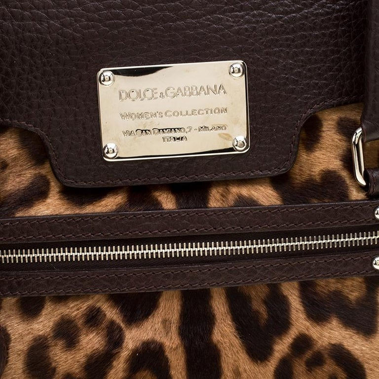 Dolce and Gabbana Dark Brown Leopard Print Leather and Calf Hair Top Handle Bag For Sale 7
