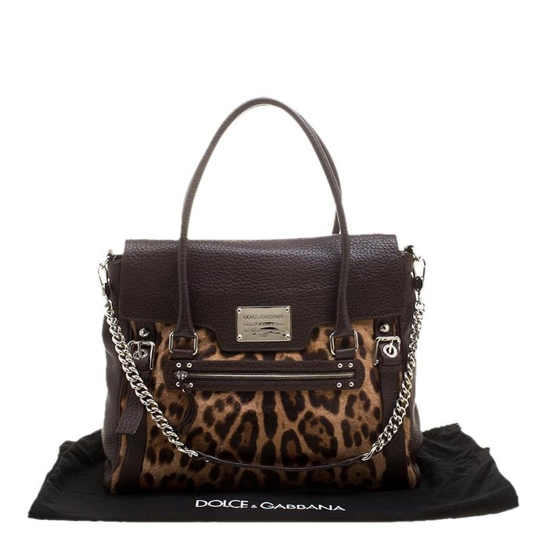 Dolce and Gabbana Dark Brown Leopard Print Leather and Calf Hair Top Handle Bag For Sale 8