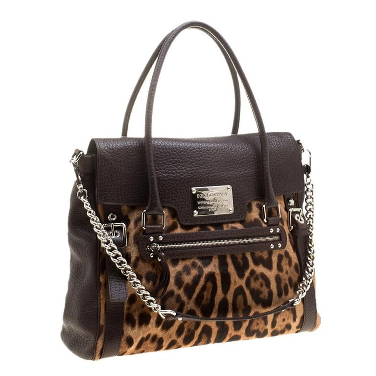 Women's Dolce and Gabbana Dark Brown Leopard Print Leather and Calf Hair Top Handle Bag For Sale