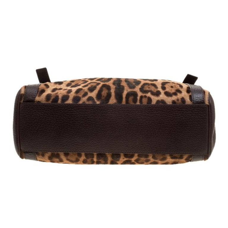 Dolce and Gabbana Dark Brown Leopard Print Leather and Calf Hair Top Handle Bag For Sale 1