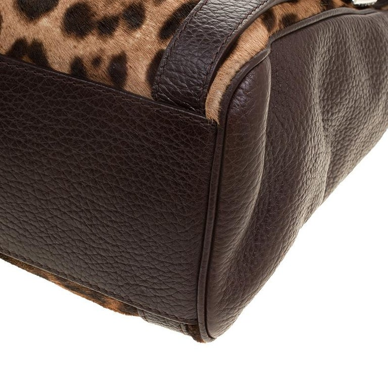 Dolce and Gabbana Dark Brown Leopard Print Leather and Calf Hair Top Handle Bag For Sale 2
