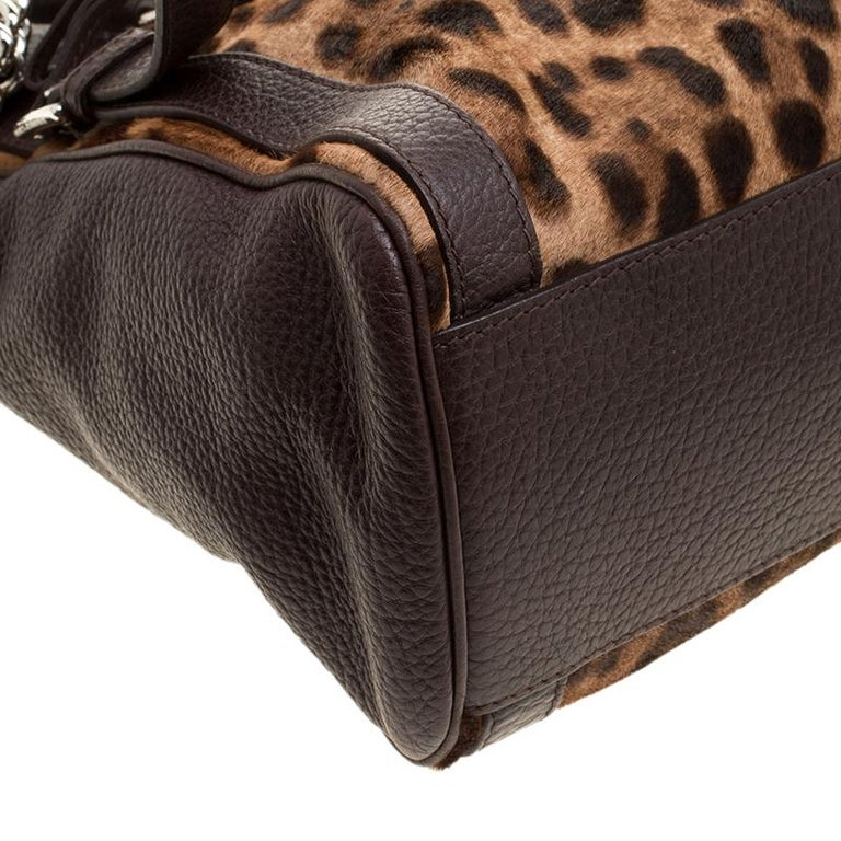 Dolce and Gabbana Dark Brown Leopard Print Leather and Calf Hair Top Handle Bag For Sale 3