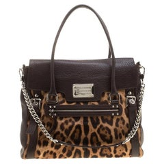 Dolce and Gabbana Dark Brown Leopard Print Leather and Calf Hair Top Handle Bag