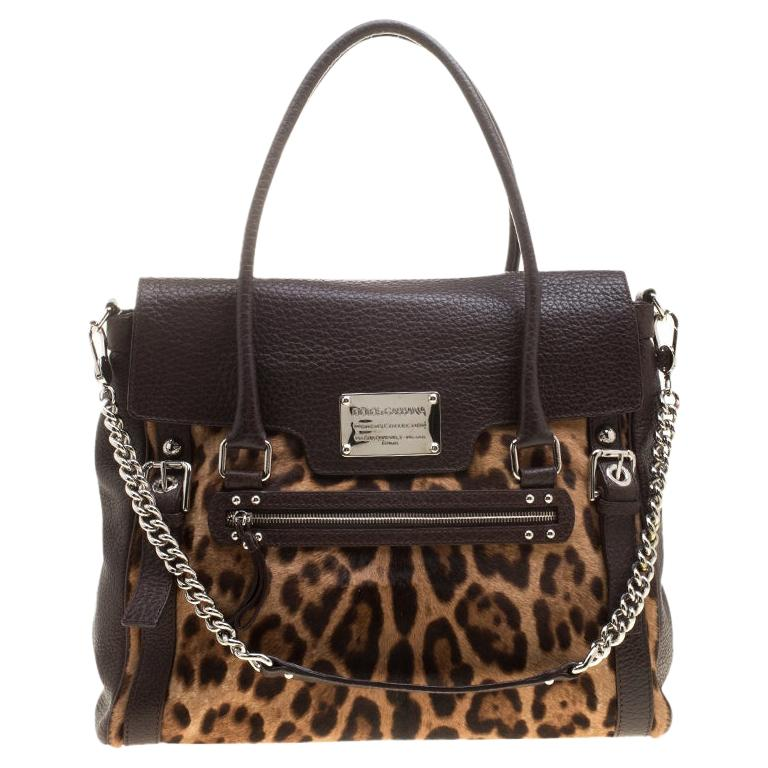 Dolce and Gabbana Dark Brown Leopard Print Leather and Calf Hair Top Handle Bag For Sale