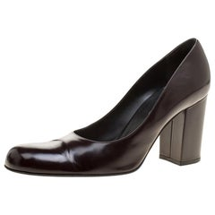 Dolce and Gabbana Dark Brown Patent Leather Block Heel Pumps Size 38