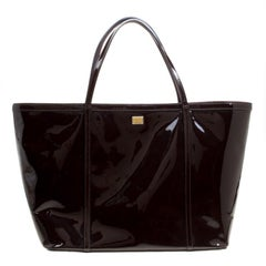 Dolce and Gabbana Dark Brown Patent Leather Miss Escape Tote